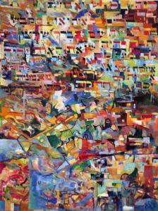 """מליקוטי מוהר""""ן א, ד',ט' From Likutey Moharon Oil on canvas ציור שמן תש""""ע 120 x 90 cm. 120 x 90 cm. כי המלכות, שהוא בחינת אותיות הדבורים, כל אות ואות מלבשבה רצון השם יתברך, שרצון השם יתברך היה, שזאת האות יהיה לה תמונה כזו, ואות אחרת יהיה לה תמונה אחרת. נמצא, שרצונות, הינו תמונות אותיות הם התגלות מלכותו יתברך שמו. וכל אלו הרצונות, הינו התמונות נמשכין מרצון אין סוף, שאין בו תמונה. וכל הדברים והישות שבעולם הם מהאותיות, הינו ממלכות, כי ישות הוא מחמת המלכות, שרצה הקדוש-ברוך-הוא שיתגלה מלכותו בעולם, ועל ידי זה ברא את העולם מאין ליש, וכל הרצונות, הינו התמונות וכל הישות, הינו בחינת מלכות מקבלים חיותם מרצון אין סוף. כמו שכתוב (מגלה לא.): 'בכל מקום שאתה מוצא גדלתו של הקדוש-ברוך-הוא', הינו מלכותו, הינו רצונות 'שם אתה מוצא ענותנותו', הינו רצון אין סוף For (the spherah) Malchus (Kingdom), is the aspect of spoken letters, each and every letter enclothing the Will of Hashem, may He be blessed . For the Will of Hashem, may He be blessed, was that this letter would have this form (lit. picture), and another letter would have a different form. Therefore [these expressions of His] Will, that is, the forms of the letters, are the revelation of His Malchus, blessed is His Name. And all these expressions of His Will, that is the forms [of the letters], are drawn from the Will Ein Sof (Will of the Infinite [One]), which transcends form. And all the speech and materiality of the world are from the letters, that is from Malchus, because materiality is because of Malchus. From that the Holy One blessed is He wanted His Malchus to be revealed in the world, and through this (will) He created the world from nothingness into matter; and all [these expressions of His] Will, that is the forms [of the letters] and all materiality; that is, the aspect of Malchus, exist by virtue of the Will Ein Sof. As it is written (in Talmud tractate Megilla) 'In every instance that you find the greatness of The Holy One blessed is He', that is, His Malchus, that is [these expressions of His] Will, 'there you find """