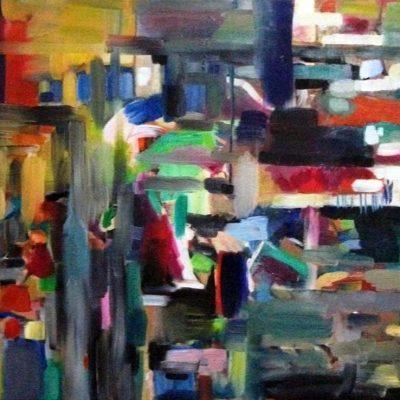 """בדרך לירושלים  On the Way  to Yerushalyim Oil on canvas ציור שמן תש""""ע 50 x 60 cm."""