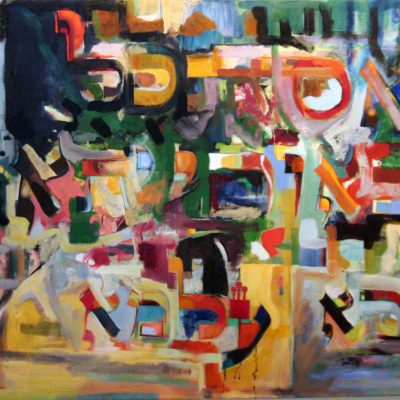 "אסתכל באורייתא וברא עלמא (זוהר) Hashem looked into the Torah and created the world (Zohar) Oil on canvas ציור שמן תשס""ט 70 x 100 cm."