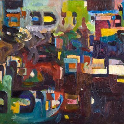 """תלמידי חכמים מרבים שלום בעולם (גמרא ברכות) Torah scholars increase peace in the world. (Talmud Bavli, Tranctate Berachos) Oil on canvas ציור שמן תשס""""ט 35 x 50 cm."""