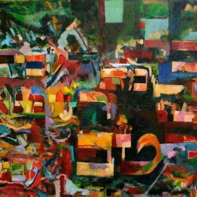 """כל מה דעביד רחמנא לטב עביד (גמרא ושלחן ערוך) All that Hashem does He does for good. (from Talmud and Shulhan Aruch) Oil on canvas ציור שמן תשס""""ט 60 x 70 cm."""