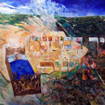 And (the angel of Hashem) smote in the camp of Ashshur (M'lachim II, 19:35) Oil on canvas , 5774, 80 x 100 cm.  In the private collection of Rav Asher Eliah, Benai Brak, Israel.