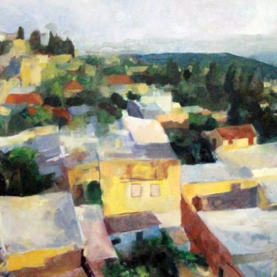 Tzfat, Oil on canvas 40 x 60 cm. 5774. In the private collection of Rav Asher Eliah, Benai Brak, Israel